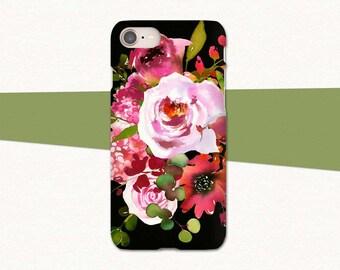 Floral iPhone 8 Case, iPhone X Phone Case, iPhone 8 Plus, iPhone 7 Case, 7 Plus, Flower iPhone Case, Black Pink Red, iPhone 6S Case, Pretty