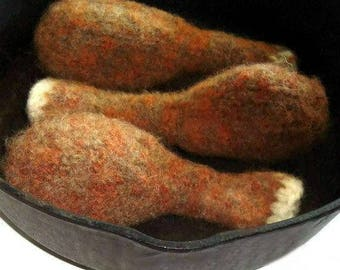 Chicken Leg Cat Toy- Hand Knit Felted Wool Drumstick- Cat Gift- BEST SELLER- Anti Snag - Valerian Catnip or Fleece- No Polyfil- Seamless
