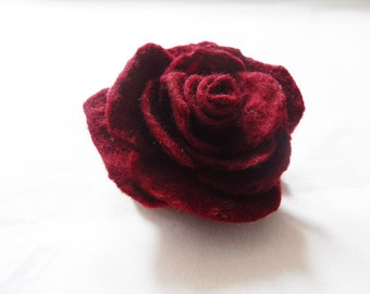 Felted Flower Brooch Pin Corsage Wool Red Burgundy Rose