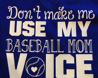 Baseball Mom Voice, s/s v neck tee in sizes S-XL availabls in several colors