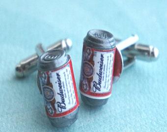 beer can cuff links- miniature food, tie tacks