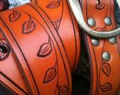 Hand-Carved Amber-Vine-Leaf Handcrafted Leather Belt
