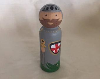 Saint George Peg Doll; Knight Peg Dolls