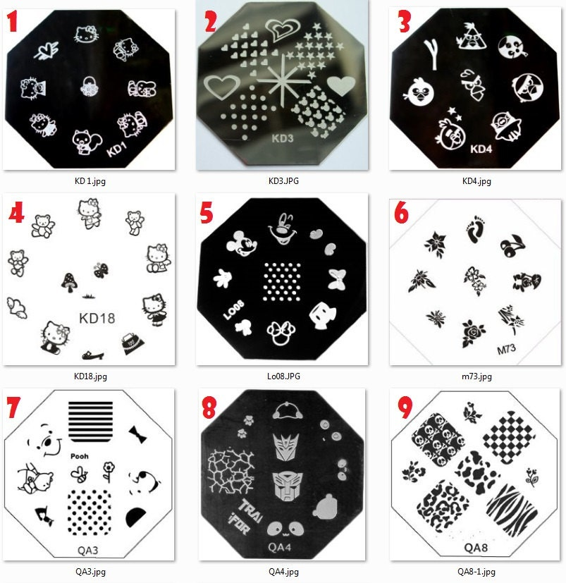 Stamping Nail Art Image Plates Octagon Flower Animals Lace