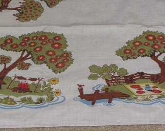 Tablecloth, Picnic at the Park, Vintage 50s-60s, Simtex, Rectangle, 48in x 57in