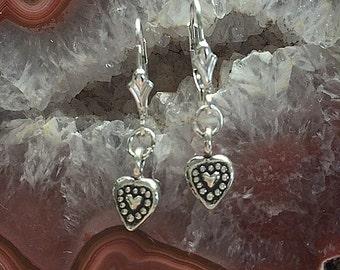 Heart Earrings - Handmade Artisan Fine Silver and Sterling Silver