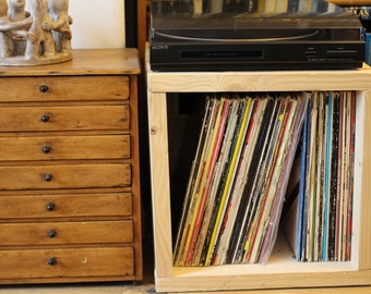 Chunky Funky Hand Made Reclaimed Pine Record Vinyl Storage Cube