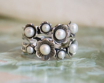 mothers day birthstone ring,  woodland ring, silver ring, stones ring, pearls ring, multi stones ring, boho ring, bohemian - Clueless R1687