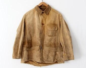 vintage 30s Duxbak field coat,  men's canvas hunting jacket, canvas duck coat
