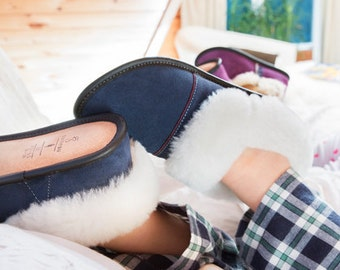"Sheepskin Slippers, ""Suede Lazybones-Navy Blue"""