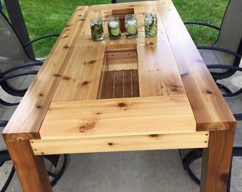Great Cedar Patio Table With Hidden Drink Cooler