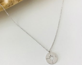 Necklace, woman, compass, compass, white gold plated,