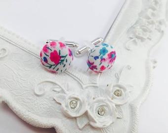 Fabric Liberty Phoebe pink and Blue - Man cufflinks