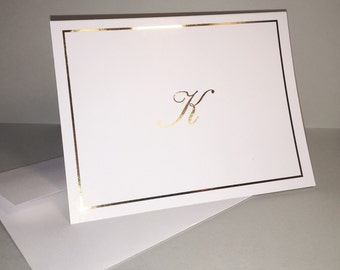 Gold Foil Personalized Notecards & Monogrammed Stationery Set | The Enchanted Envelope