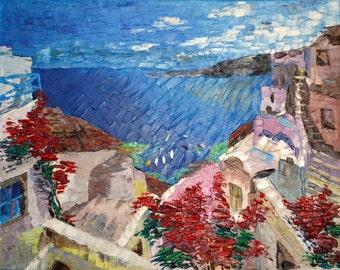 "Art Painting -   Greek landscape - PALETTE KNIFE -  Art Oil Painting On Canvas By Irena Rudman - Size:16"" x 20"" (40.5 cm x 51 cm)"
