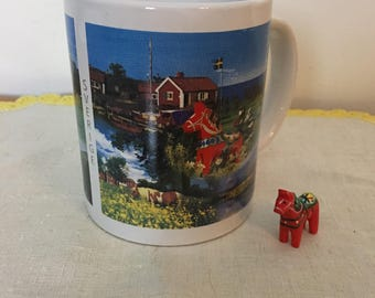 Souvenir Swedish Mug with Dala Horse