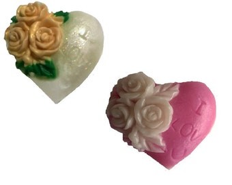"""2  Valentine's Day Heart with Rose Soap """"I Love U"""" Guest, Gift  Soaps, 100% Natural,Decorative Homemade Choose: SCENT,Color & TYPE"""
