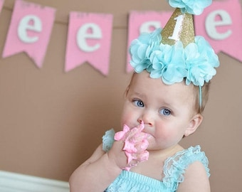 Baby 1st First Birthday Party Celebration Glitter Hat for Cake Smash and more