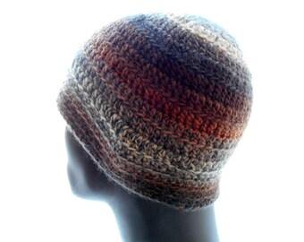 Wool - Blend Men's Beanie Hat, Crocheted Beanie in Tweedy Neutral Color Stripes, Winter Fashion, Medium Size