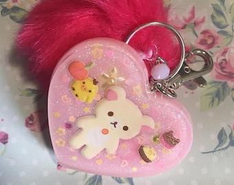 Pink Pompom Bag Charm