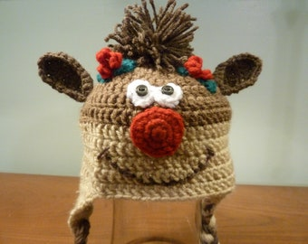 Crochet Christmas reindeer hat with ear flaps - baby to child size - Ready to ship