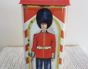Vintage British Sentry Tin Bank Made in England Colorful Changing of the Guards
