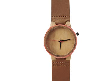 7PLIS watch #007 Recycled SKATEBOARD #madeinfrance brown red wood