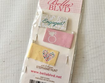 Bella Blvd. Flag Pins, 2, Engaged by Stephanie Hunt, for scrapbooks, paper crafting, card making, embellishment for fabric, baked goods