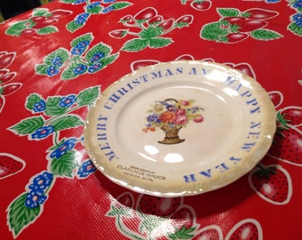 Vintage DE McNicol East Liverpool Christmas and New Year plate