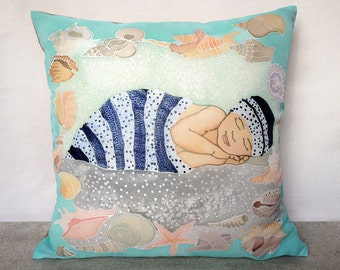 Baby pillow cover Baby boy Christmas gift Throw pillow cover Cushion cover 16x16 Nursery decor Gift for newborn Children gift Kids pillow