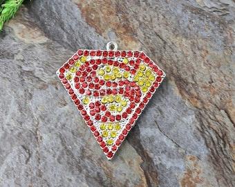 Superman Rhinestone Studded Pendant