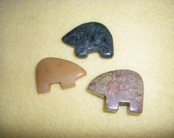 Three Gemstone Zuni Bear Pendants Focal Beads, chakra stone fetish pendant mix assortment