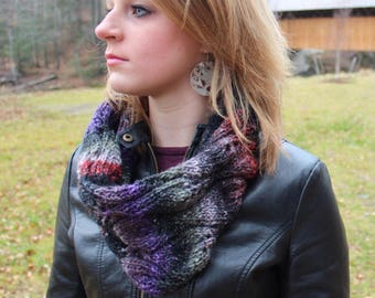 Wool Hand Knit Black and Red Flame Cowl