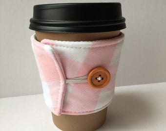 Petal Pink Gingham Check Coffee Cozy - One Inch Gingham Check Coffee Cup Sleeve - Reusable Coffee Sleeve
