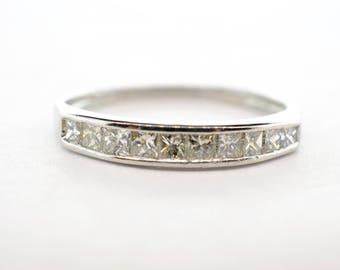 Platinum Princess Cut Diamond Channel Set Band - Size 6.75