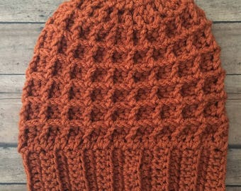 Dark Orange Crochet Hat