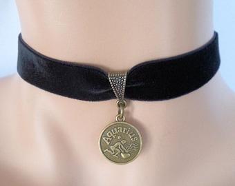 velvet choker, aquarius choker, aquarius necklace, stretch ribbon, black velvet, star sign, zodiac charm