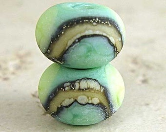 Green Glass Lampwork Bead Pair with Organic Silvered Ivory Web and Frosted Finish Small 11x7mm Little Sirona Velvet