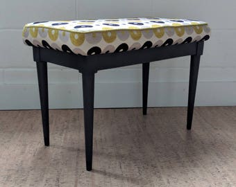 Vintage Bench – Upholstered Bench – Upholstered Ottoman - Small Bench