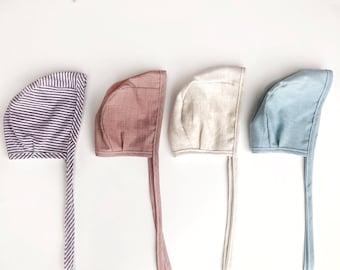 Gender neutral bonnet, Brimless Bonnet, Sun Bonnet, Baby Bonnet, Baby Hat, Cotton Hat, Linen Bonnet, Baby Girl Bonnet, Baby Boy Bonnet