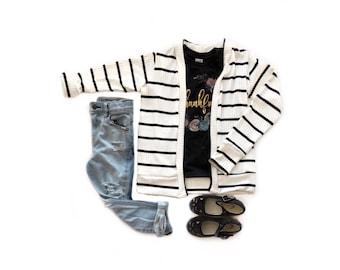 Ready to ship- Black and white stripe cardigan, baby toddler cardigan, tunic cardigan