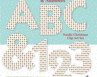 Alphabet Clipart: Nordic Christmas Alphas Numbers Symbols Digital Alphabet Clip Art A-Z Letters Graphics Printable Holiday clip art Images
