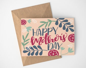 Floral Mothers Day Card - Card for Gardening Mom - Sweet Mother's Day Card - For My Mom Card - Card for Mom