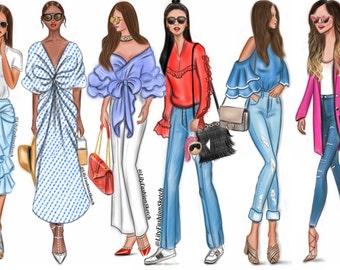 Group of 10 Custom Fashion Illustration