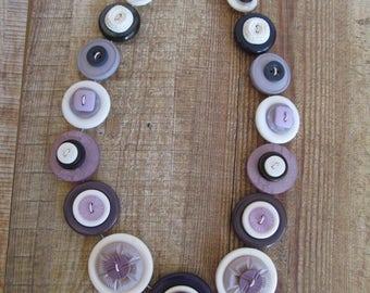 Button Necklace Lilac White Mauve Pale Purple Button Necklace  Retro Vintage