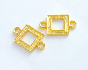 2 of 925 Sterling Silver 24k Gold Vermeil Style Textured Square Links , Connectors 9mm..  :vm0639