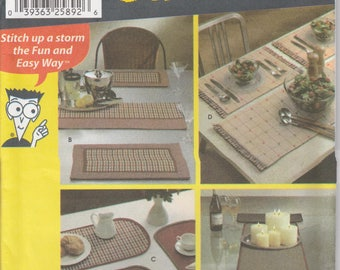 Placemat Pattern Oval Rectangle and Table Runner Uncut Simplicity 5964 Sewing Patterns for Dummies