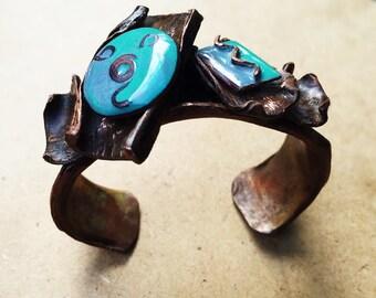 Copper Cuff Bracelet - Boho chic fold-formed copper and enamel cuff bracelet