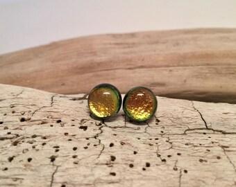 Dichroic glass jewelry, fused glass, handmade dichroic glass, dichroic glass earrings, dichroic glass, Fused Glass stud earrings, glass