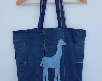 Up-cycled Denim giraffe market bag - tote bag - carry all bag